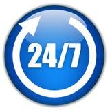 24 vingt-quatre heures ouvrent le signe Images libres de droits