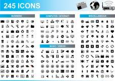 245 ícones ajustados Imagem de Stock Royalty Free