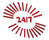 247 dial. 27 7 all time support dial in red tones Royalty Free Stock Images