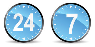 247 support. 24 hours 7 days support  icons Royalty Free Stock Images
