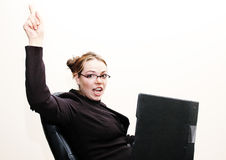 愉快的女实业家 免版税库存图片