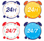 24h delivery service. Icon representing 24h or 24/7 delivery service Stock Photo