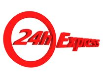 24h Express. 3d rendered illustration of a red express sign Stock Photo