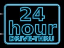 24hr推进霓虹灯广告 向量例证