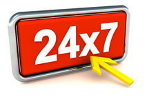 24X7 or 24 hour availability. 24 hour service support or help concept, a 24X7 label in chrome frame being clicked by an arrow in yellow color Stock Photography