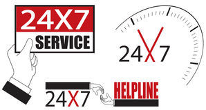 24x7. Cycle 24 hour service and helpline illustration design Royalty Free Stock Photos