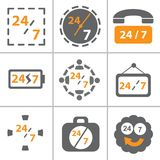 24x7 icon set. This image represent for 24x7 vector icon set Royalty Free Stock Photo