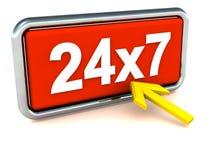 24X7 ou 24 disponibilités d'heure Photographie stock