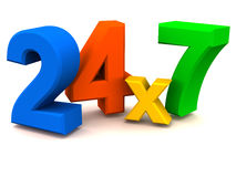 24X7 ou 24 supports d'heure Images stock