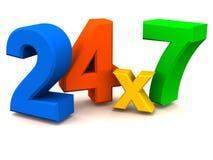 24X7 ou 24 sustentações da hora Imagens de Stock
