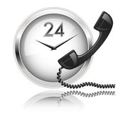 24x7 Support. Wall clock and telephone receiver. Round the Clock Support or 24x7 Support royalty free illustration
