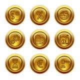 25个按钮金图标设置了万维网 库存图片
