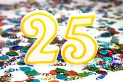 25个蜡烛庆祝编号 库存照片