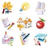 25部动画片图标零件学校集合样式向量 免版税库存图片
