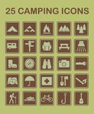 25 εικονίδια στρατοπέδευσης απεικόνιση αποθεμάτων