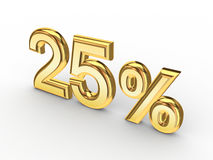 25%. On white background.3d rendered Royalty Free Stock Images