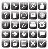 25 черно-белых установленных значков сети Стоковое Изображение