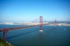 25 Abril bridge. View of Lisbon and 25 de Abril bridge over Tagus river Stock Image