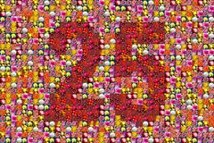 25 anniversary. Thousands of photos make a mosaic picture of  the number 25 Stock Image