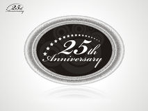 25 anniversary. Cector art of a seal with Number 25 with laurel leaves Royalty Free Stock Images