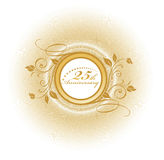 25 anniversary. Floral text with  Cector art of a seal with Number 25 with laurel leaves Stock Photography