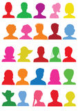 25 Anonymous colorful mugshots. Silhouettes Stock Images