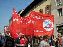 25 april, de parade van de Dag van de Bevrijding in Milaan. Italië, Royalty-vrije Stock Afbeelding