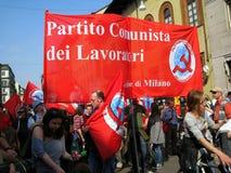 25 april, de parade van de Dag van de Bevrijding in Milaan. Italië, Royalty-vrije Stock Foto's