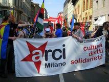 25 april, de parade van de Dag van de Bevrijding in Milaan. Italië, Royalty-vrije Stock Afbeeldingen