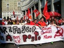 25 april, de parade van de Dag van de Bevrijding in Milaan. Italië, Stock Foto