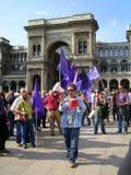 25 april, de parade van de Dag van de Bevrijding in Milaan. Italië, Stock Fotografie
