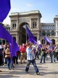 25 april, de parade van de Dag van de Bevrijding in Milaan. Italië, Stock Foto's
