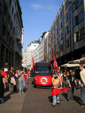 25 april, de protesteerder van de Dag van de Bevrijding in Milan.Italy, Stock Fotografie