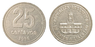25 argentinian peso centavos coin. Isolated on white background Royalty Free Stock Photo