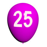 25 Balloon Shows Twenty-fifth Happy Birthday Celebration. 25 Balloon Showing Twenty-fifth Happy Birthday Celebration Royalty Free Stock Photos