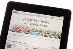 25 Billion Downloads. AppStore 25 Billion Download Milestone Headline On Apple Ipad Royalty Free Stock Image