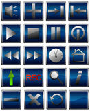 25 blue web icons Stock Images