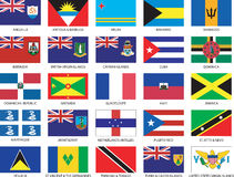 25 Caribbean uzupełniają flaga ustawiać Fotografia Royalty Free