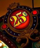 25 cent sign. In a casino royalty free stock image