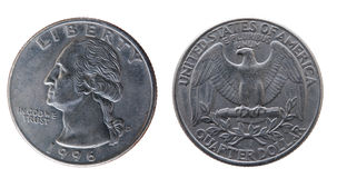 25 centavos los E.E.U.U. Imagen de archivo