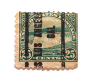25 cents Niagara Falls Stamp. Isolates shot of an old green US stamp of Niagara Falls Royalty Free Stock Image