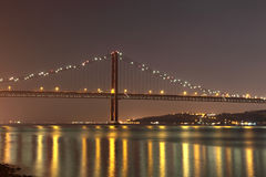 The 25 de Abril Bridge, Lisbon Royalty Free Stock Photography