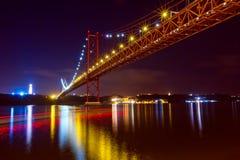 The 25 De Abril Bridge in Lisbon royalty free stock photo