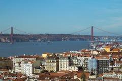The 25 de Abril Bridge in Lisbon royalty free stock image