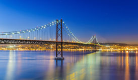 The 25 de Abril Bridge in Lisbon, Portugal stock images