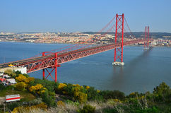 25 de Abril Bridge in Lissabon, Portugal Lizenzfreies Stockbild