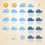 25 detailed weather icons. Set of 25 high quality detailedweather icons for day and night Royalty Free Stock Image