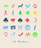 25 different stickers for your design. An image with 25 different stickers for your design Stock Photo