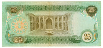 25 dinar bill of Iraq. Cyan, green, hazel colours