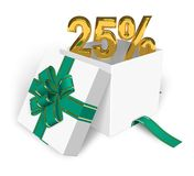 25% discount concept. Shiny golden 25% in gift box isolated over white background Stock Image